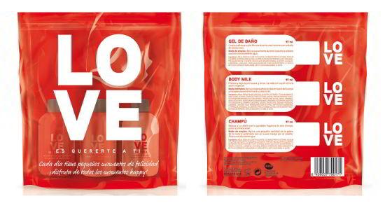Lote LOVE: Gel de ducha,  Champú y Body Milk