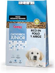 Compy Cachorros Junior para razas medianas y grandes, rico en Pollo y Arroz