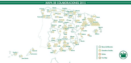 Mapa Donaciones de alimentos 2015 de Mercadona
