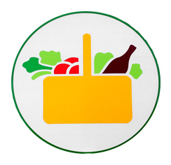 Mercadona's logo, comprised of a yellow basket filled with vegetables and a bottle.