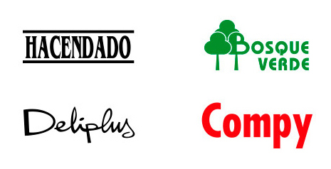 Picture of Mercadona's four brands: Hacendado, Bosque Verde, Deliplus and Compy.