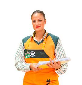 Colaboradora da Mercadona com o uniforme implementado em 2005